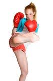 拳击女孩反撞力 库存图片