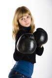 拳击女孩手套 免版税库存图片