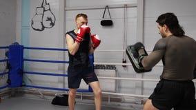 拳击手人脚踢拳击垫,当与教练时的个人训练 在猛击垫的拳击手套的人战斗机 ?? 股票录像