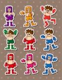 拳击手动画片贴纸 库存图片