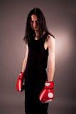 拳击手套哥特式英俊的人 免版税库存照片