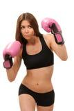 拳击手套桃红色妇女 免版税库存图片