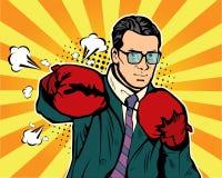 拳击手套的人导航在可笑的流行艺术样式的例证 免版税库存图片