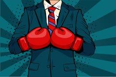 拳击手套的人导航在可笑的流行艺术样式的例证 库存图片