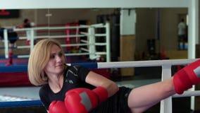 拳击手套的美丽的妇女训练她的与教练的命中在拳击台 股票录像