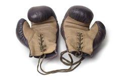 拳击手套老对 免版税图库摄影