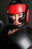拳击手女性顶头射击 库存照片