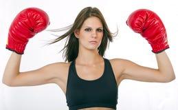拳击手妇女年轻人 免版税库存照片