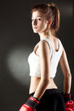 拳击手妇女年轻人 免版税库存图片