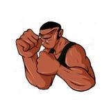 拳击手战斗机人坚韧Hip Hop的街道 免版税库存照片