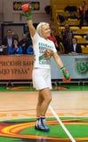 拳击手natascha ragosina观众感谢 库存图片