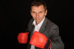 拳击生意人 库存照片