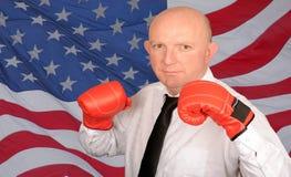 拳击生意人 免版税库存图片