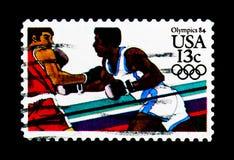 拳击,奥运会1984年-洛杉矶serie,大约1983年 图库摄影