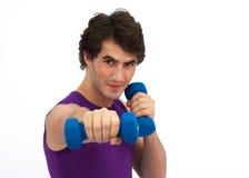 拳击dumbell锻炼 免版税图库摄影