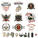 拳击俱乐部标签、象征和设计elements2的套 库存照片