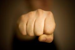 拳头前男性视图 免版税库存图片