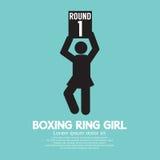 拳击台女孩标志 库存照片
