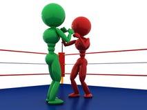 拳击台的#9两位拳击手 库存照片