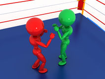 拳击台的#10两位拳击手 免版税库存照片