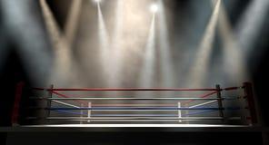拳击台Spotlit黑暗 免版税库存照片