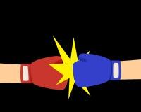 拳击在平的样式的战斗机背景 库存图片