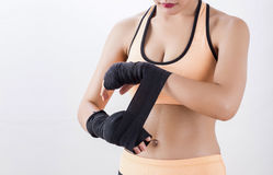 拳击妇女的身体局部 库存照片