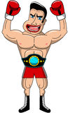 拳击手优胜者冠军被隔绝的传送带尖叫 免版税库存图片