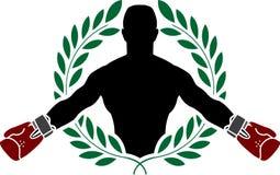 拳击手和月桂树花圈 库存照片