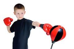 拳击手套的男孩 库存照片