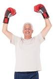 拳击手套的老人 免版税图库摄影