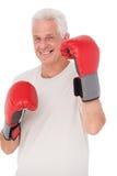 拳击手套的老人 库存图片