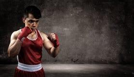 拳击手是在墙壁前面 免版税库存照片