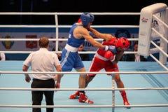 拳击手肌肉胳膊 免版税库存照片