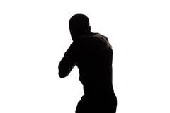 拳击手击中准备好的战斗机战斗 免版税库存图片