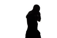 拳击手击中准备好的战斗机战斗 免版税库存照片