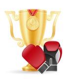 拳击杯子优胜者黄金储备传染媒介例证 库存照片