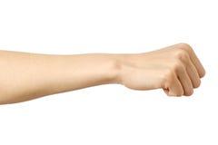 拳头白种人妇女` s手势 免版税库存图片