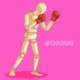 拳击的概念与木人的时装模特的 免版税库存图片