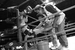 拳击队的职员照顾年轻泰国拳击手 库存图片