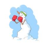 拳击雪人 免版税图库摄影