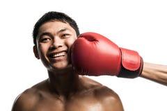 拳击,在面孔的拳打,隔绝在白色 图库摄影