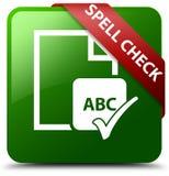 拼写检查文件绿色正方形按钮 库存照片