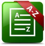 拼写检查文件绿色正方形按钮 免版税图库摄影