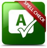 拼写检查绿色正方形按钮 免版税图库摄影