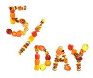 拼写词5的健康食物一天,新鲜的水果和蔬菜五每日服务的  免版税库存图片