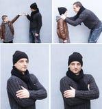 拼贴画、父亲和儿子 图库摄影