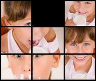 拼贴画不同的饮用的女孩牛奶姿势 图库摄影