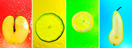 拼贴画五颜六色的果子 免版税库存照片
