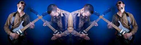 拼贴画吉他演奏员岩石 免版税库存照片